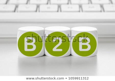 Brief dobbelstenen toetsenbord b2b business netwerk Stockfoto © Zerbor