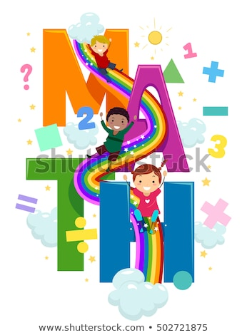 Kinder math Regenbogen Folie Illustration Vorschule Stock foto © lenm