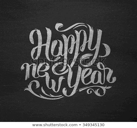 Weiß glückliches neues Jahr Grußkarte Kreide Bord Kunst Stock foto © FoxysGraphic