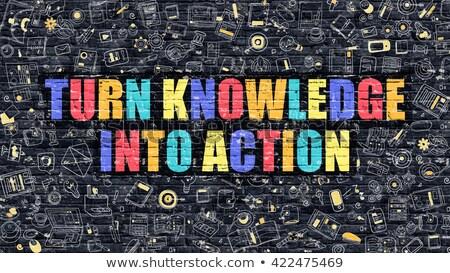 Vuelta conocimiento acción educación blanco pared Foto stock © tashatuvango