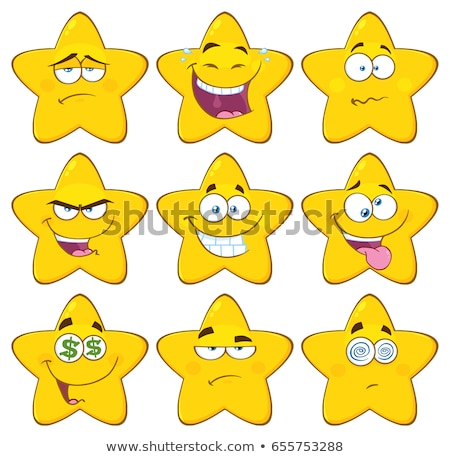 Crazy Yellow Star Cartoon Emoji Face Character With Expression Stock photo © hittoon