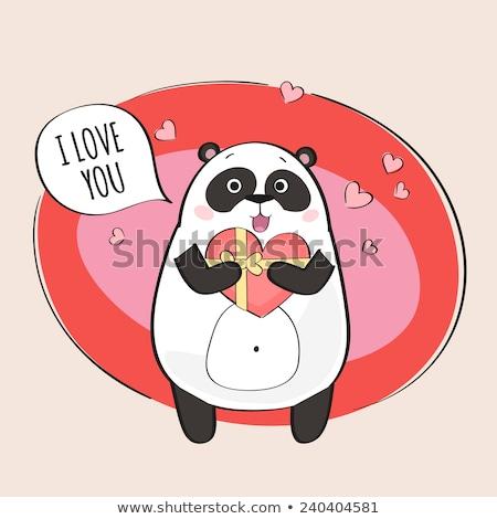 Stockfoto: Zwart · wit · panda · beer · cartoon · mascotte · karakter