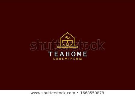 Kaffeehaus logo-Design Essen Design home Tee Stock foto © djdarkflower