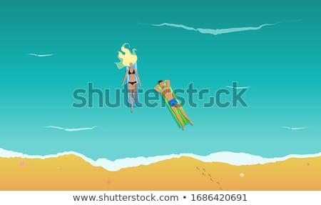 Pareja rafting ilustración mar océano Foto stock © adrenalina