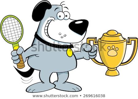 Cartoon chien trophée illustration raquette de tennis Photo stock © bennerdesign
