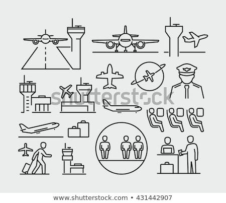 Luchthaven landingsbaan lijn icon ontwerp vliegtuig Stockfoto © RAStudio