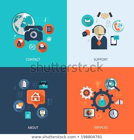 ícones · faq · apoiar · contato · serviços · aplicativos - foto stock © makyzz