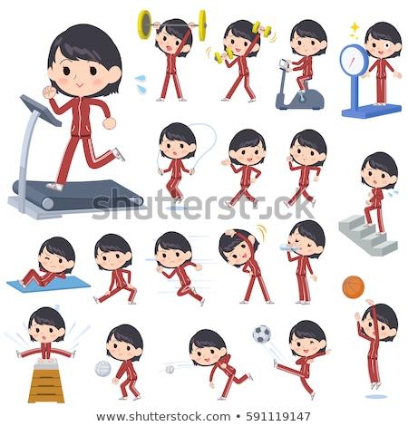 Uczennica czerwony sportowe wykonywania zestaw różny Zdjęcia stock © toyotoyo