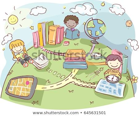 Crianças livros geografia ferramentas ilustração Foto stock © lenm