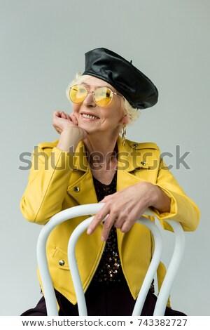 Kıdemli kadın poz moda bere gülen Stok fotoğraf © NeonShot