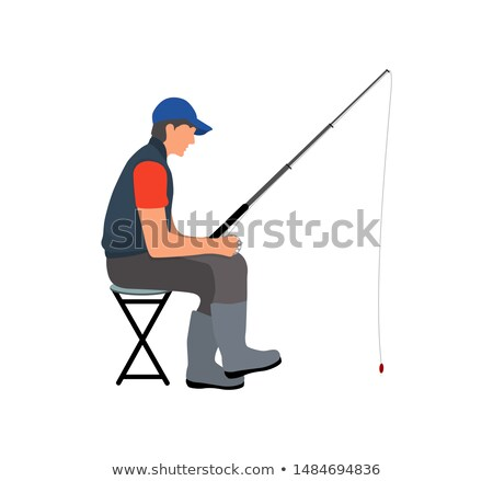 Angler with Fishing Tackle Waiting for Fish Poster Stock photo © robuart