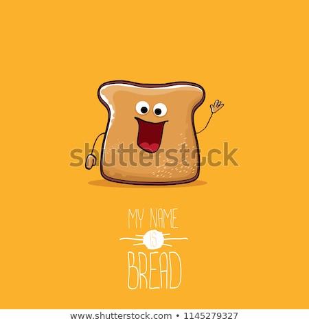 Stockfoto: Plakje · brood · mascotte · cartoon · geïsoleerd · witte