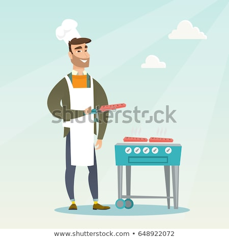 BBQ Barbecue Man Grilling Meat Vector Illustration Stock photo © robuart