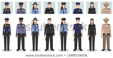 Police officers in uniform, working concept icons Stock photo © robuart