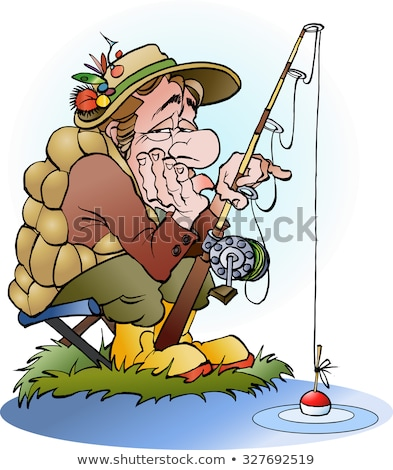 Sad Cartoon Fisherman Stock photo © cthoman