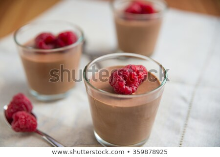 Bowls Of Chocolate Mousse With Whipped Cream Stock photo © mpessaris