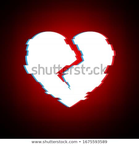 Glitch distortion frame. Vector heart illustration on black Stock photo © m_pavlov