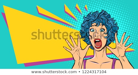 woman panic, fear, surprise gesture. Girls 80s Stock photo © studiostoks