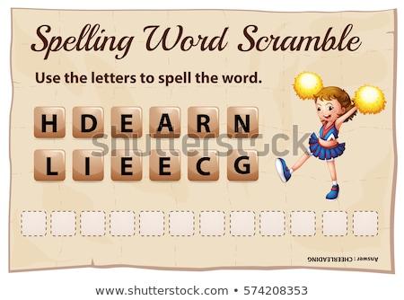 Spelling word scramble game with word cheerleading Stock photo © colematt