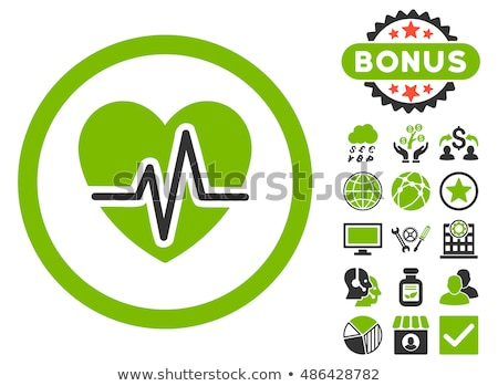 Medical chart icon on colored backgrounds. Cardiogram report. Heart graph Stock photo © Imaagio