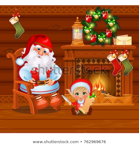 Inside the old cozy wooden village house. Home furnishings. Santa Claus and the boy assistant. Sketc Stock photo © Lady-Luck