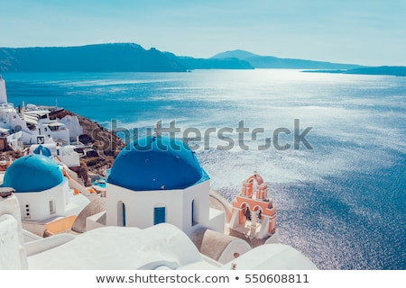 white belfries Santorini island, Greece Stock photo © neirfy