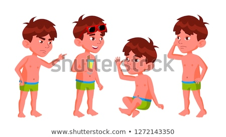 Boy Kindergarten Kid Poses Set Vector. Summer Vacation. Pool, Beach. Undressed. For Card, Advertisem Stock photo © pikepicture