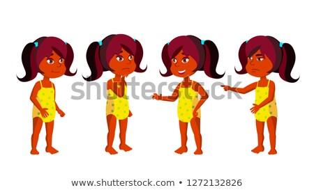 Indian Girl Kindergarten Kid Poses Set Vector. Hindu. Undressed. Summer Vacation. Beach, Pool, Water Stock photo © pikepicture