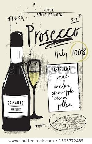 Wein Karte Plakat Rotwein Flasche Glas Stock foto © robuart