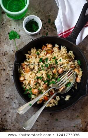 Bir sosis odak gıda yeşil plaka Stok fotoğraf © zoryanchik