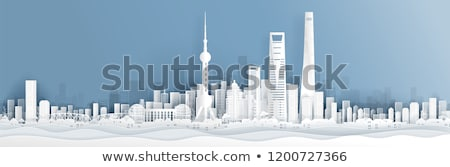 China Poster with Building and Country Vector Stock photo © robuart