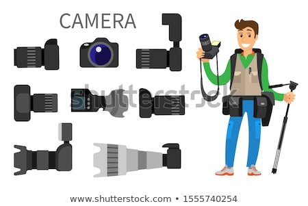 Photographer and Gear with Flash and Zoom Function Stock photo © robuart