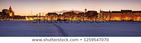 Helsinki fagyott Balti-tenger panoráma Finnország város Stock fotó © benkrut