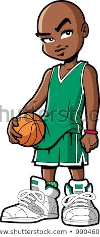 Rajz fekete kosárlabdázó illusztráció afroamerikai nő néz Stock fotó © cthoman