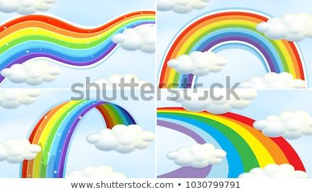 jelenet · színes · szivárvány · illusztráció · tájkép · kert - stock fotó © colematt