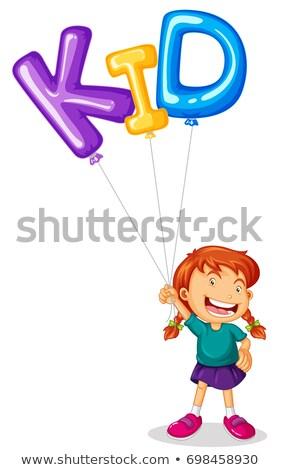 menina · feliz · voador · balão · diversão · cor · jovem - foto stock © colematt