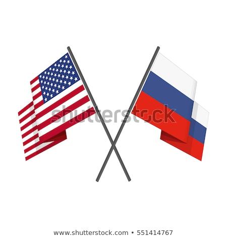Kettő integet zászlók Egyesült Államok Oroszország izolált Stock fotó © MikhailMishchenko