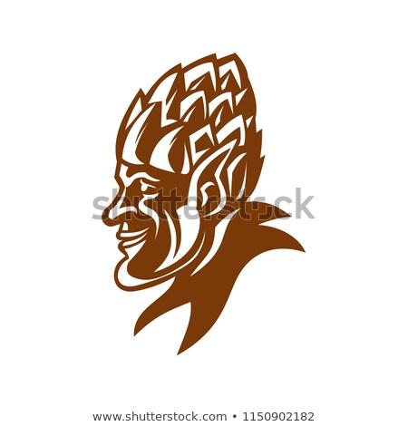 Elf Wearing Hops Hat Smiling Mascot Stock photo © patrimonio