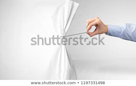 Kéz húz fehér papír függöny füst Stock fotó © ra2studio