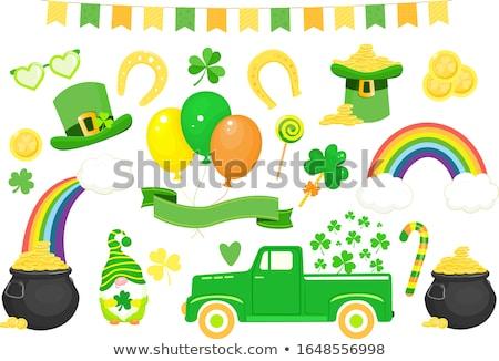Golden horseshoe, rainbow and pot of gold symbol of St. Patrick Day Stock photo © orensila