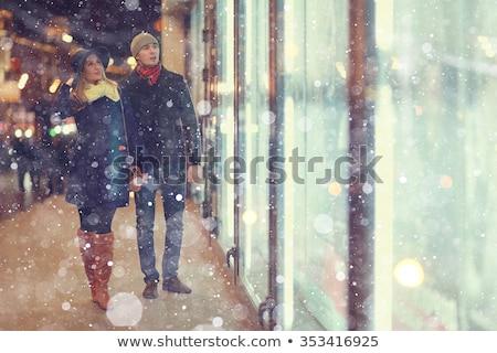 счастливая · девушка · улице · зима · красный · свитер · женщину - Сток-фото © Stasia04