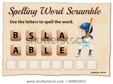 Spelling word scramble game for word baseball Stock photo © colematt