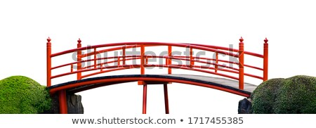 Wooden bridge on white background Stock photo © colematt
