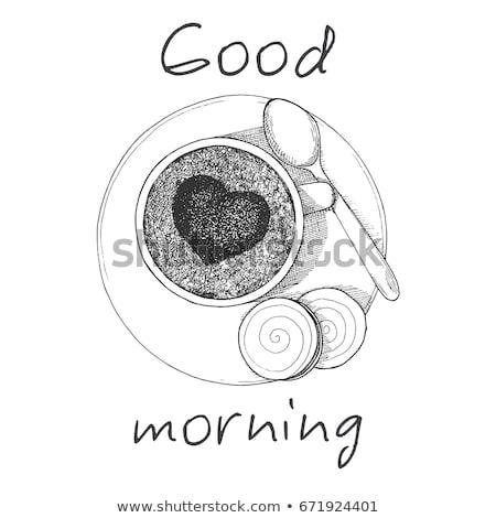 Rajz bögre kávé csészealj felirat stílus Stock fotó © Arkadivna