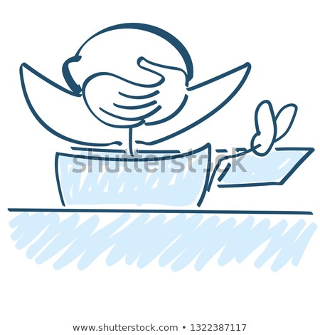 stick figure with crossed arms and legs on the work table stock photo © ustofre9
