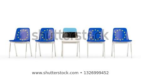 Csetepaté székek zászló EU Észtország izolált Stock fotó © MikhailMishchenko