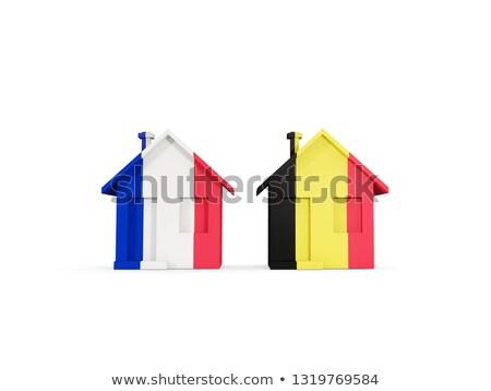 Twee huizen vlaggen Frankrijk België geïsoleerd Stockfoto © MikhailMishchenko