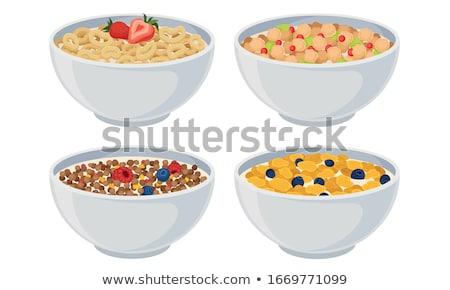 blanco · tazón · naturales · orgánico · granola · cereales - foto stock © DenisMArt