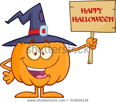 Happy Witch Pumpkin Cartoon Character Holding Up A Blank Wood Sign With Text Stock photo © hittoon