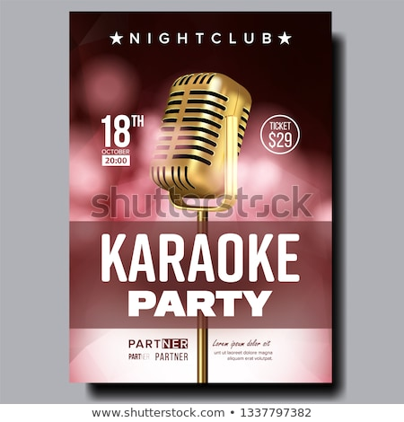 Stock photo: Karaoke Poster Vector. Dance Karaoke Music Event. Technology Symbol. Festival Concept. Live Singer.